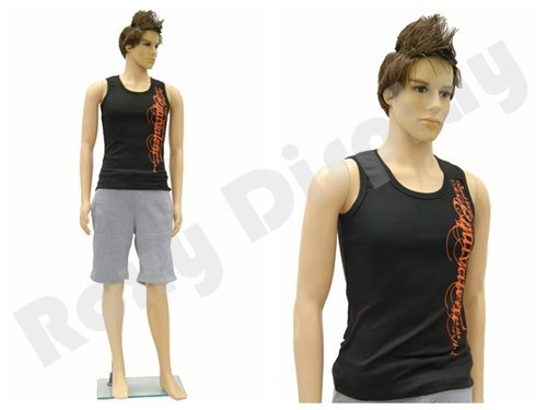 (PS-ROB+1 FREE WIG) ROXY DISPLAY Plastic Male Mannequin Flesh Tone + Base -
