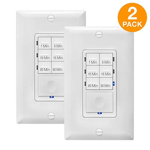 In Wall Timer Switch Enerlites, Fan Switch Timer, Countdown Timer Switch, Light Timer Switch, Bathroom Timer Switch, 1 - 30 min, Night Light LED Indicator, Neutral Wire Required HET06A ,White, 2-Pack (Best Bathroom Fan Timer Switch)