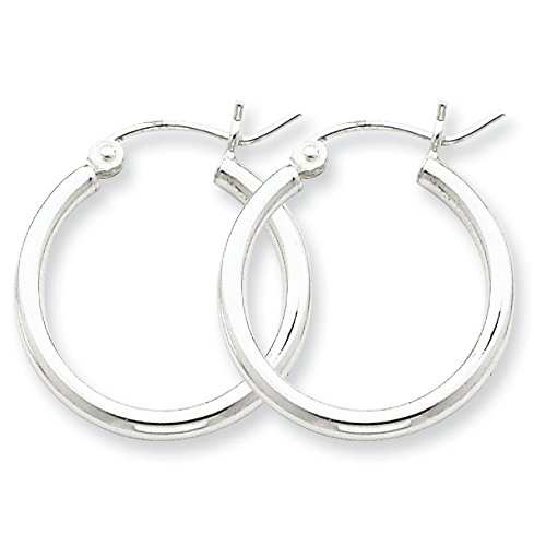 5 Sterling Silver Classic Seamless Tube Hoop Earrings, Choice of Sizes (Slender 2mm x 20mm (about 3/4