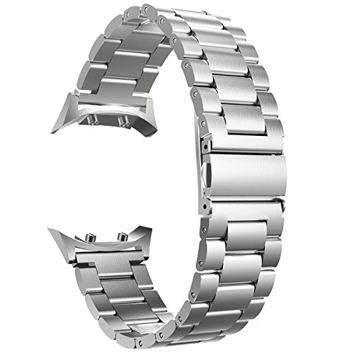 Valkit Compatible Gear S2 Bands Solid Stainless Steel Watch Band Metal Straps Business Sport Wristband Bracelet with Adapter Connector Replacement for Samsung Gear S2 SM-R720/730, Silver, Small