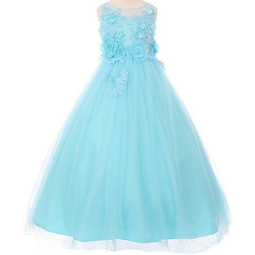 Big Girls Illusion Sleeveless Raised Flowers Embellishment Lace Floor Length A-Line Dress Aqua - Size 14 by CrunchyCucumber
