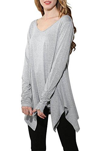 Minetom Mujeres Casual V Cuello Manga Larga Camiseta Blusas Suelto Color Sólido Irregular Del Dobladillo Puños A Prueba T-Shirt Tops Gris Claro