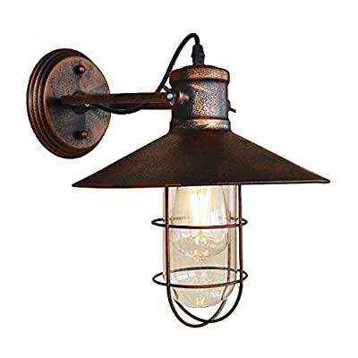 BAYCHEER HL421422 Industrial Retro Vintage style Single Light Antique metal Copper Nautical Wall Sconce wall light lamp with Cage use E26/27 Bulb