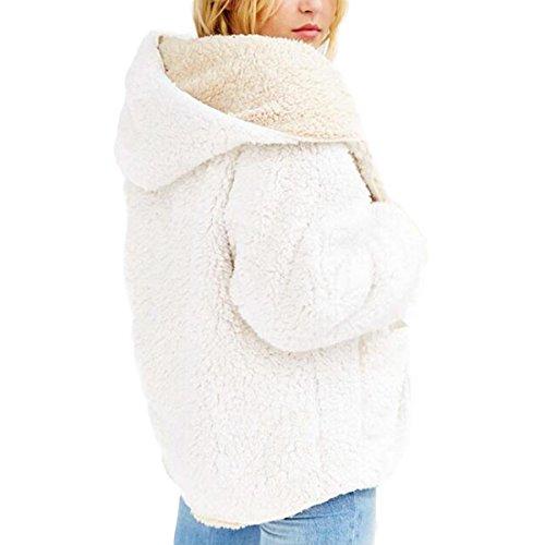 XXL Size Peluche Capuche Goyfeelip avec Longues Cardigan Coat Hiver Automne Mode Femmes Manches en Poche Color White Manteaux aqxppnT1