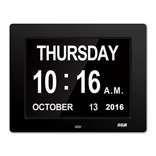 Dementia Day Clock,Memory Loss Digital Calendar Day Clock, with Extra Large Non-Abbreviated Day & Month. Perfect for Seniors(Black)