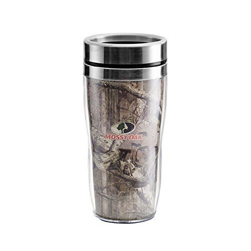 Mossy Oak 5128157 Double Wall Stainless Steel Travel Coffee Mug with Screw Top, 14-Ounce, Breakup Infinity Camo