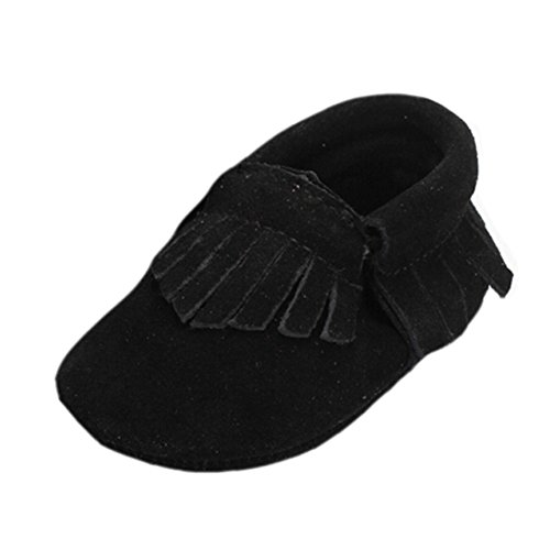 Unisex Baby Suede Genuine Leather Soft Sole Moccasins Boots Crib Shoes Black 12-18 Months
