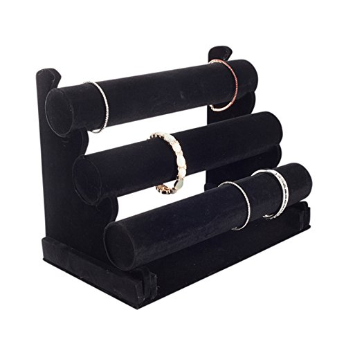 Plixio Velvet Bracelet Holder with Three Tier Rack- Bracelet Stand for Jewelry Organization and (Bracelet Watch Jewelry Display)