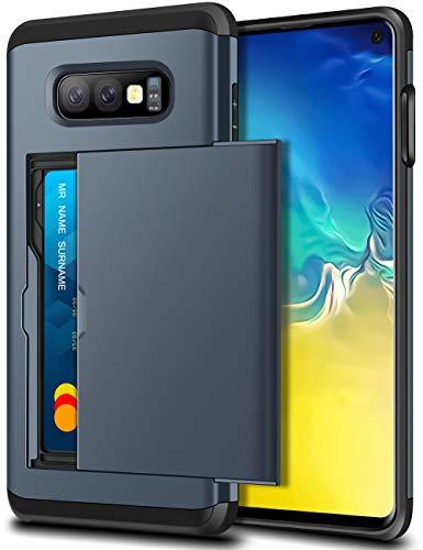 SAMONPOW Case for Galaxy S10e Case Hybrid Dual Layer Protective Shell Galaxy S10e Wallet Case Hard PC Soft TPU Bumper Credit Card Slot Cover for 2019 Samsung Galaxy S10e 5.8 inch Dark Blue