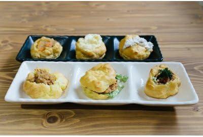 シュークリームおじさんが考案した「米粉惣菜シューセット」 (肉じゃが、ポテサラ、豚肉、鳥つくね、ニンジン) 60g×10個