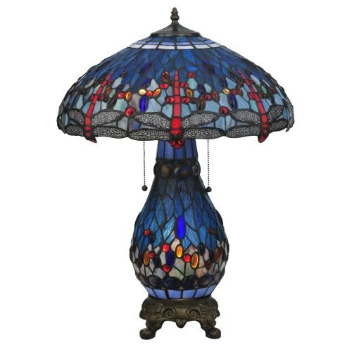 (Meyda Tiffany 118840 Hanginghead Dragonfly Lighted Base Table Lamp, 25.5