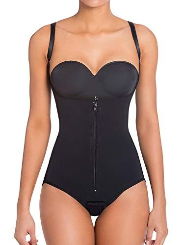 BARGOOS Women Seamless Firm Body Shaper Open Bust Tummy Control Slimmer Adjustable Straps Latex Bodysuit with Zipper Black XL