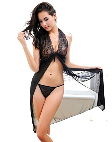 VOTEKI Women's Black Lace Babydoll Sleepwear Sexy Lingerie Long Nightdress Set with G-string (S)