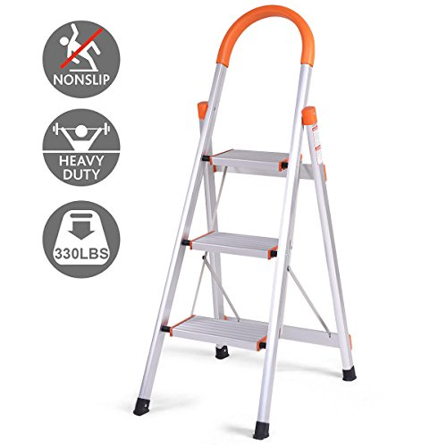 Giantex Non-slip 3 Step Aluminum Ladder Folding Platform Stool 330 lbs Load (Heavy Duty Platform Ladder)