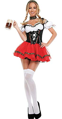 Beer Maiden Costume (Womens Oktoberfest Sexy Costumes Dirndl Maid Dress for Halloween)
