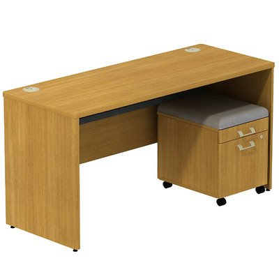 UPC 042976521844, Quantum Shell/Credenza Desk and Mobile Pedestal with Cushion Finish: Modern Cherry