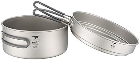 Keith 400 ml-1250ml al aire libre Camping olla titanio olla conjuntos utensilios de cocina Camping olla Picnic Pot