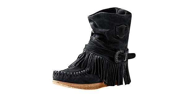 Alueeu Womens Lace up Boots Womens Fashion Casual Round Toe Rome Retro Fringe Short Ankle Boots Flat Shoes par