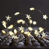 CajuArt Yıldız Şekilli Peri Led Yıldız Süslü Pilli Led Işık 3-5-10 Metre Ev Dekoratif Aksesuar Dekoratif Aydınlatma Star Led (3 Metre, Beyaz)