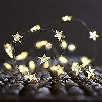 CajuArt Yıldız Şekilli Peri Led Yıldız Süslü Pilli Led Işık 3-5-10 Metre Ev Dekoratif Aksesuar Dekoratif Aydınlatma Star Led