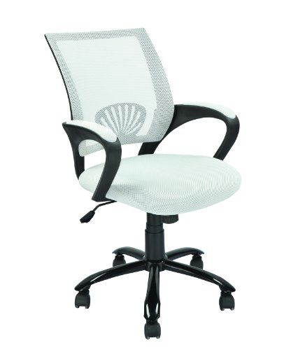 Mid Back Mesh Ergonomic Computer Desk Office Chair, White, O