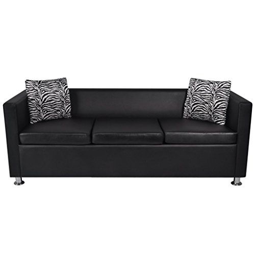 Loveseat Black Leather Modern (Festnight Faxu Leather 3 Seater Upholstered Sofa with Armrest and Pillows Modern Black Sofa Couches for Living Room Home Office Furniture)