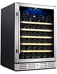 Kalamera 24 Wine Cooler 54 Bottle Single Zone Touch Control Built-in with Tempered Glass Door and Temperature Memory Function