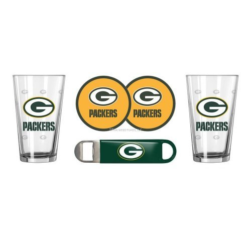 (2015 NFL Football SE Beer Pints Gift Set - Pint Glasses (2), Vinyl Coasters (2) & Stainless Steel Opener (1) (Packers))
