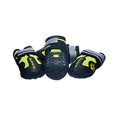 Water Resistant Dog Shoes with Reflective Velcro and Rugged Anti-Slip Sole (Size 3, Green)