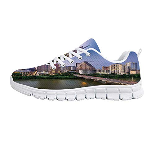 (Modern Comfortable Sports Shoes,Austin Texas American City Bridge Over The Lake Skyscrapers USA Downtown Picture for Men & Boys,US Size 8)