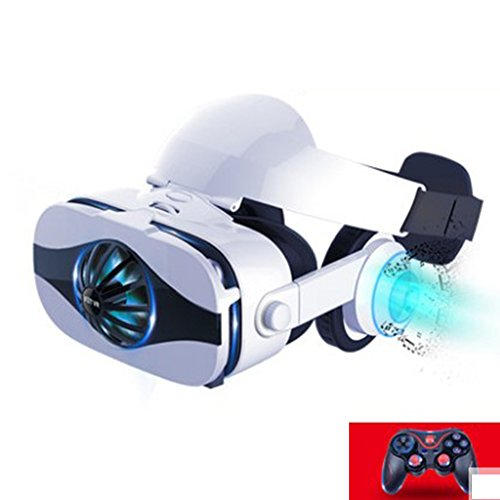 With Eye Protection VR Headset 3D Glasses 360 HD Immersive Virtual Reality Helmet, Video Game Controller 4K No Particles VR Machine, 3D Display Smart Glasses Iphone Samsung Home Theater Fan Machine,Ga