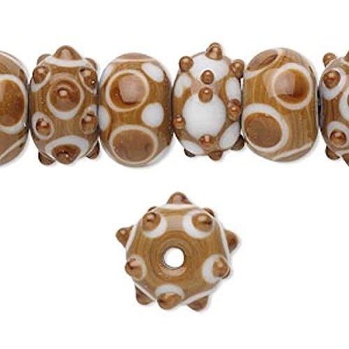 20 Lampwork Rondelle Brown & White Bumpy Beads ~ 14x10mm