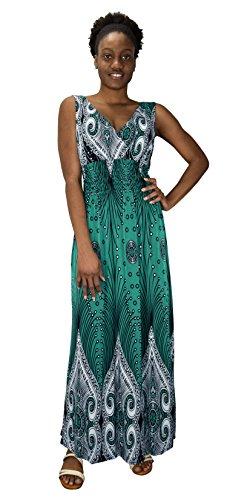 (Peach Couture Womens Paisley Print Smocked Waist Surplice Bodice Tank Maxi Dress Boho Teal Large)