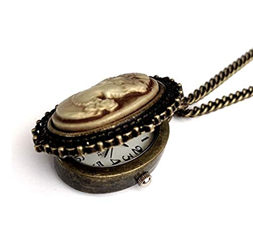 Vintage Jewelry 1900's Vintage Cameo Necklace Oval Antique Bronze Pendant Watch Boxed & Gift Wrapped
