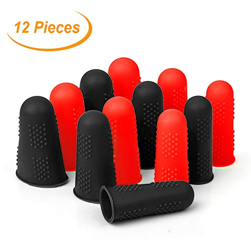 Silicone Finger Protectors Covers Caps for Hot Glue Gun Wax Rosin Resin Honey Adhesives Scrapbooking Sewing Crafts Ironing Embroidery Needlework Accessories (Black&Red)