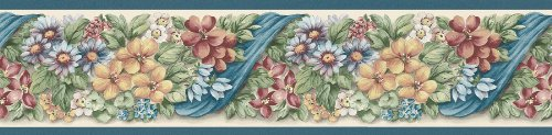 Brewster 137B38619 Kitchen Bath Bed Resource III Floral Ribbon Wall Border, 5.125-Inch by 180-Inch, Blue