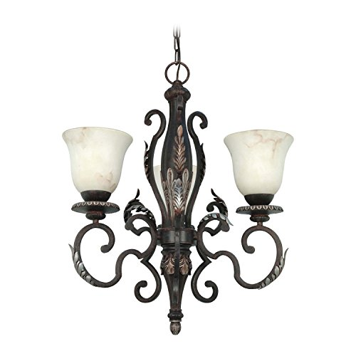 Nuvo 60/1165 3 Light Chandelier with Marbleized Glass (Garnet Nickel Three Light)