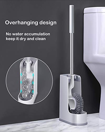 AYOTEE Toilet Bowl Brush and Holder, Toilet Brush Antislip Grip Handle,Silicone Bristles,Toilet Scrubber for Bathroom ,Toilet (White)