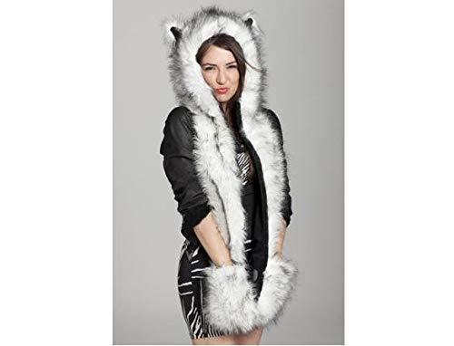 Furry Hat Fedora Ladies (Qenci Women Faux Fur Winter Hat, 3 in 1 Furry Hoodie Soft Flufffy Cosplay Hat Plush Hood Scarf Gloves)
