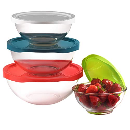 Round Glass Mixing Bowl Set with BPA-Free Airtight Lids | 4 Glass Food Storage Containers in a Variety of Sizes | Microwave-Safe Salad Bowls Excellent for Meal Prep, Lunch, Leftovers & More