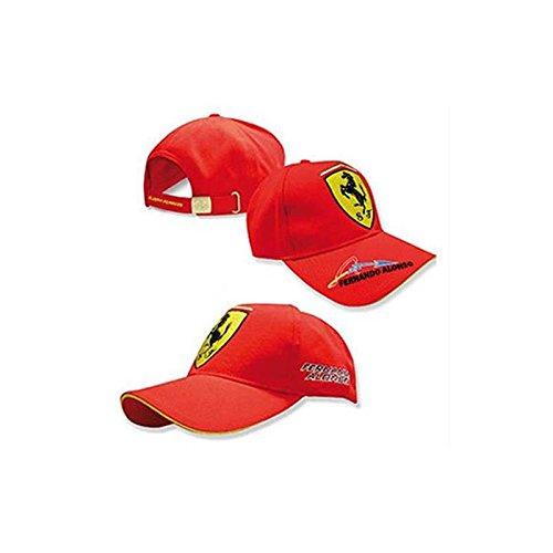 Gorra unisex Ferrari firma Fernando Alonso rojo