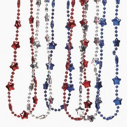 Metalic Patriotic Necklace (1 dozen) - Bulk by (Buy Mardi Gras Beads In Bulk)