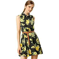 Allegra K Women's Half Placket Above Knee Printed Belted Sleeveless Dress S Black-Lemon