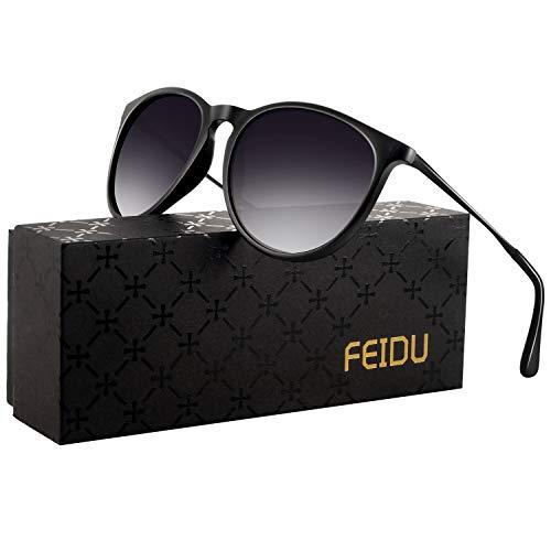 polarized sunglasses for women men - FEIDU retro womens sunglasses oversized style aviator sunglasses 4171 (Gradual double black, 14.5)