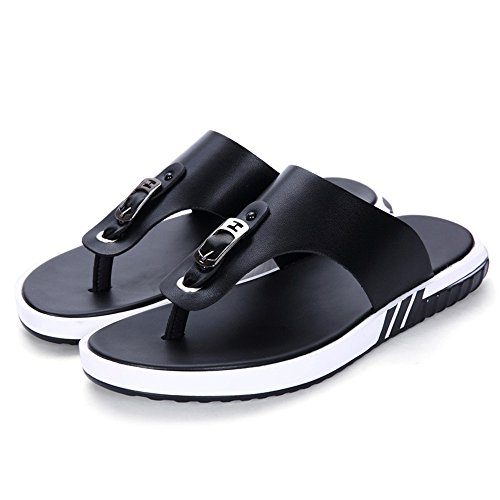 Flops Thong Soft Beach Shoes,Casual Flat Flip Men Yao Black Genuine Non Slippers Summer Sandals Leather Slip Black for EHqwP
