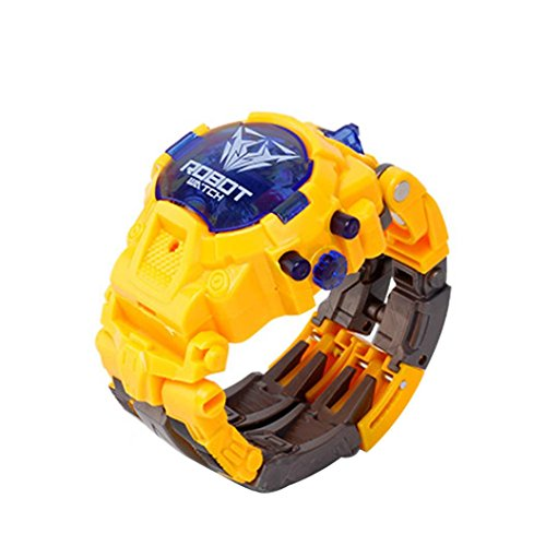 Gbell Boys Girls Children Kids Manual Transformation Robot Wristwatch Toys, Electronic Watch Deformed Robot Toy (Yellow)