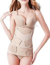 Bestnewborn 3 in 1 Postpartum Support Girdle Recovery Belly Wrap Waist Pelvis Postnatal Belt Body Shaper (One size, Nude)
