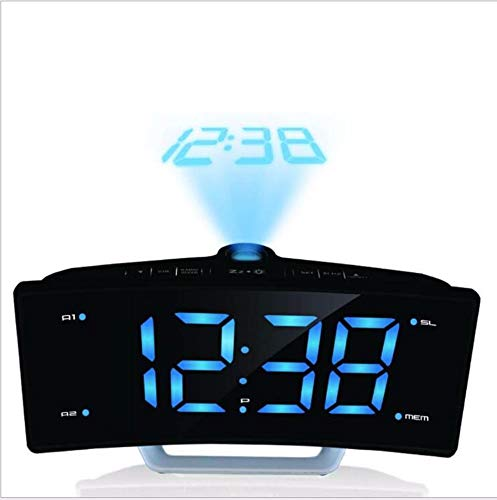 Radio Nid Fashion Led Projection Mirror Alarm Clock Hong Kong Luminous Double-Tone Electronic Clock External Power Supply Home Decoration Digital Electronic Clock,B0