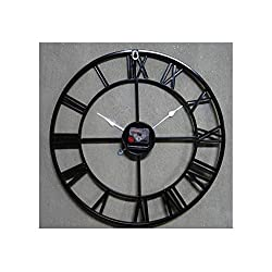 Handmade Oversized 3D Retro Rustic Decorative Art Big Gear Wooden Vintage Large Wall Clock On The Wall for Gift,Black,58cm