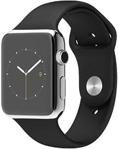 """Apple Watch 42 mm (1ª Generación) - Smartwatch iOS con caja de acero inoxidable en plata (pantalla 1.5"""", Apple S1 a 520 MHz, 8 GB, 512 MB RAM), correa deportiva negra"""